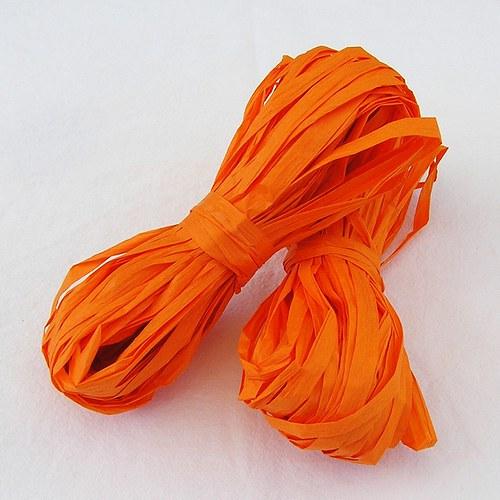Sytě oranžové papírové lýko - 20 m