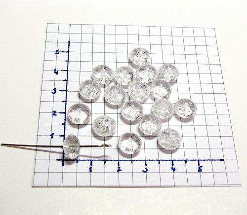 Práskané, bílé korálky, 9 mm, 15 ks, placička