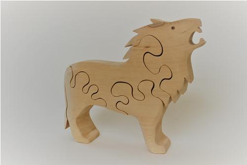 Dřevěné zvířátko - PUZZLE - lev