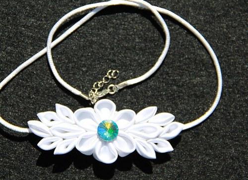 Kanzashi náhrdelník v bílém!!!VÝPRODEJ!!!