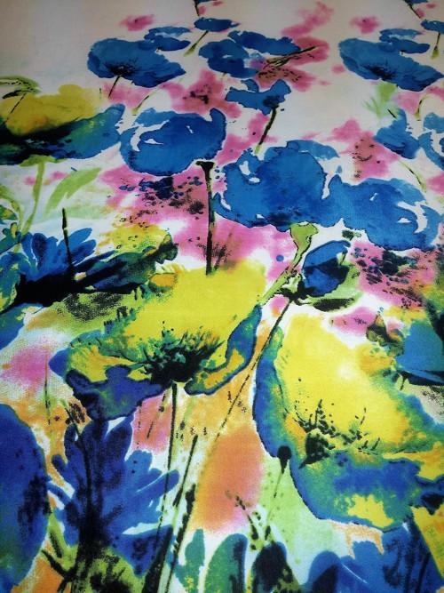 Úplet abstraktní květinový vzor v bordurách modrý