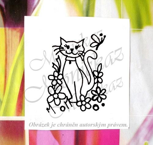 Kočka v květinách. Omyvatelné razítko.