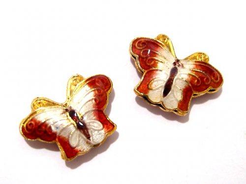 1000142/Motýlek Cloisonné cihlově bílý, 1 ks