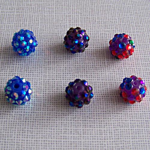 korálky s kamínky/AB duhový/ modrá tm. /12mm / 1ks