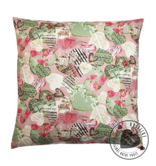 Povlak na polštář Zelená a růžová srdíčka