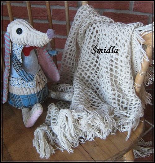 Starý pléd - krémový - šátek