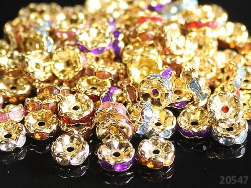 20547 Rondelky 7mm zlaté / kamínky MIX,bal.10ks