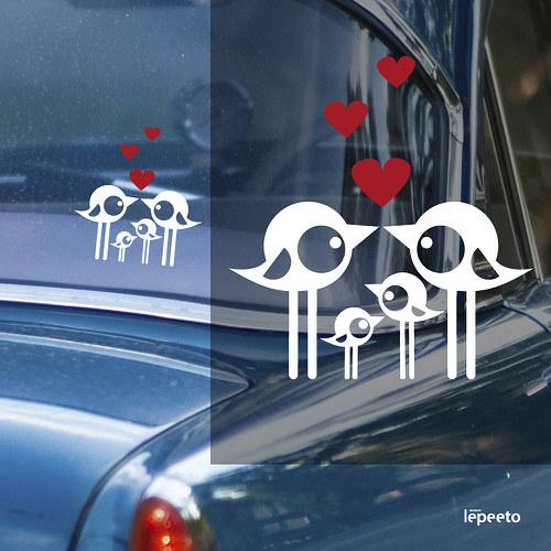 Ptáčí rodinka velká - samolepka na okno nejen auta