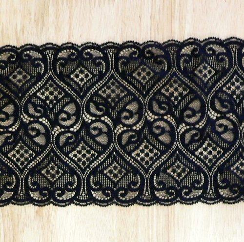 Černá krajka s geometrickým vzorem 14cm