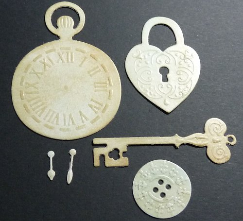 Embosované výseky - hodiny, klíč, knoflík, zámek