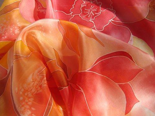 Ručně malovaná hedvábná šála