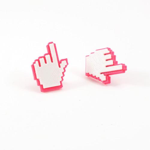 Náušnice cursor hand magenta