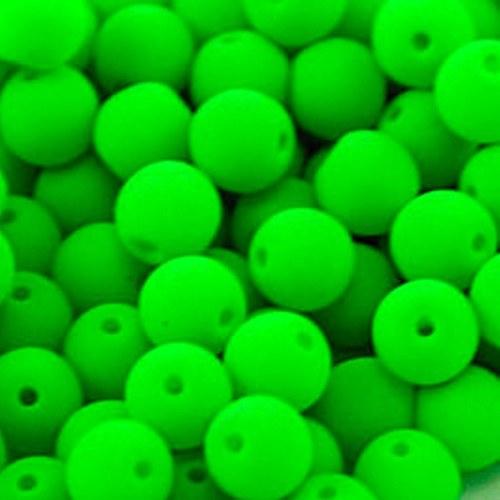 Plast. korálky neon zelené 6mm - 20ks