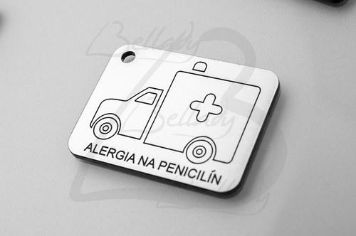 SPE4260,PRÍVESOK Alergia na Penicilín STRIEBRO/1ks
