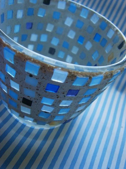 Svícínek mozaikový - světle modrý