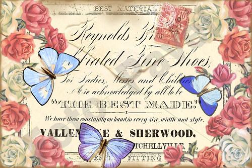 Vintage motiv - obálka s modrými motýlky