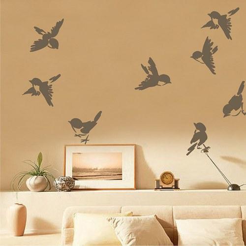 Samolepka na zeď - Veselí vrabčáci