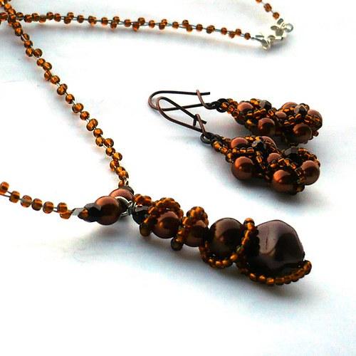 Kaštánky - náhrdelník s náušnicemi - 20% sleva!!!