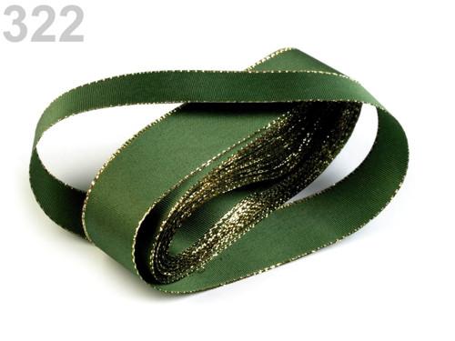 Taftová stuha s lurexem 25mm (10m) - olivová