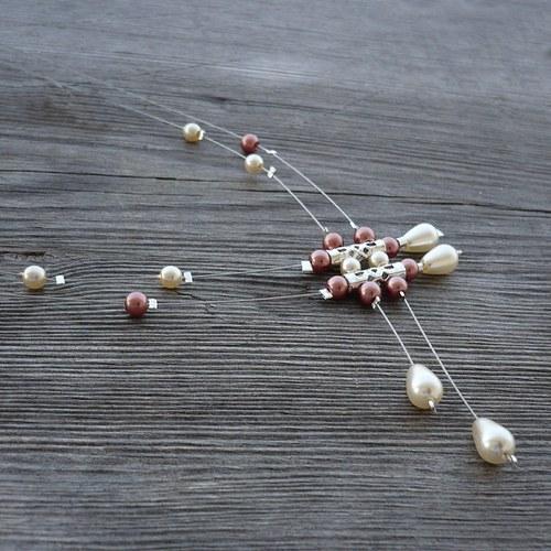 Krémovohnědý déšť - náhrdelník