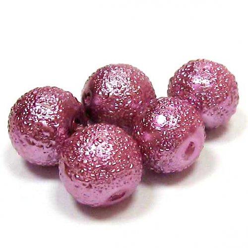 Zvrásněné perly 8 mm - starorůžová - 5 ks