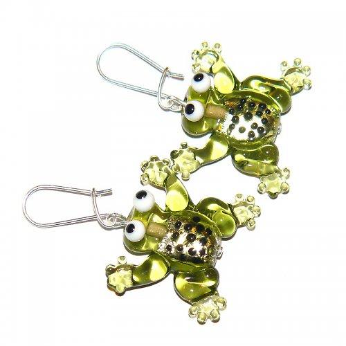 Náušnice žába olivín - vinuté perle