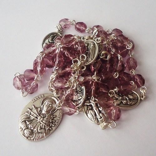 Růženec sedmibolestný fialový (sklo)