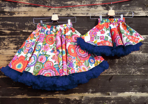FuFu sukně duo - květy s modrou spodničkou