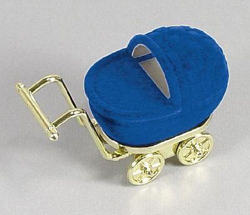 Sametová krabička na šperky - modrý kočárek