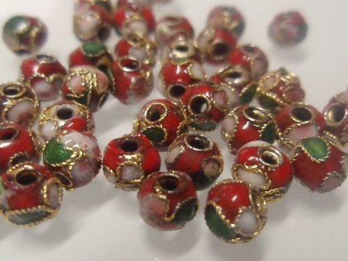 21700-B10 Cloisonne kulička - červená 5mm bal. 5ks