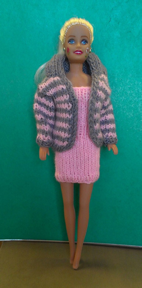 Šaty a kabátek pro Barbie