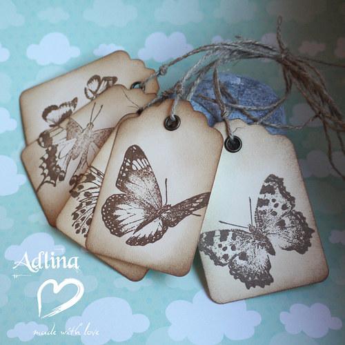 sbírka motýlů...visačky...5ks