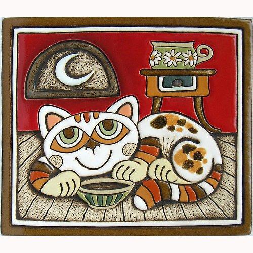 Keramický obrázek - Kočka a stolek K-114-CE