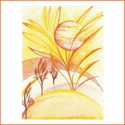 Originál litografie - Slunce v poli
