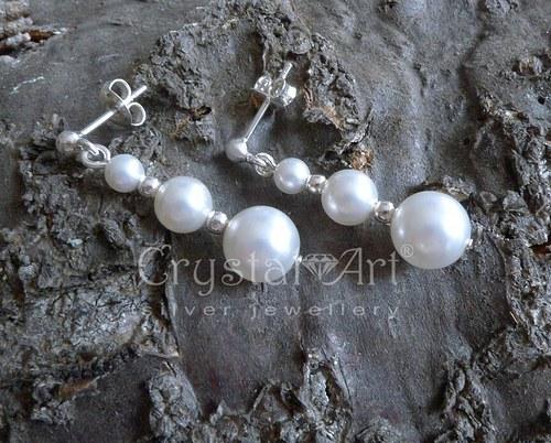Strieborné náušnice s perlami Swarovski