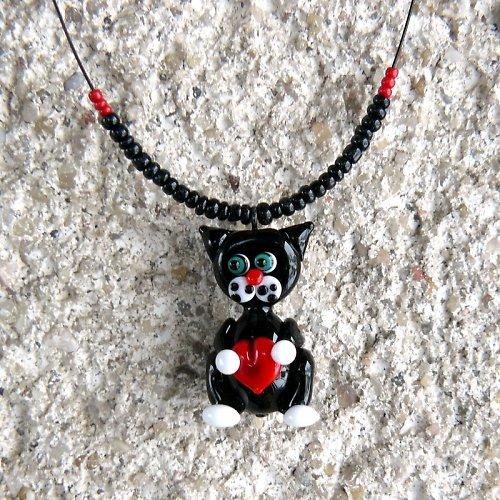 Valentýnský náhrdelník  černá kočka