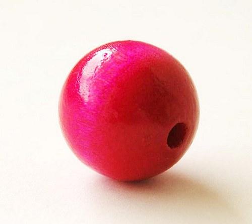 2ks dřevené korálky- sytě růžové
