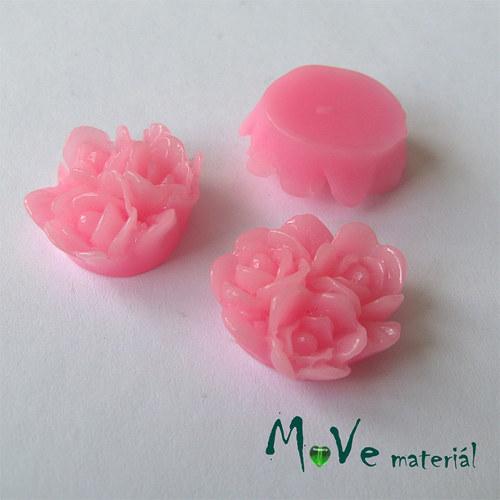 Kabošon 3 růže - lesklý resin - 2ks, růžový