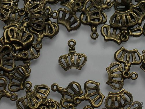 21392 Vintage přívěšek bronz KORUNKA, bal. 5ks!