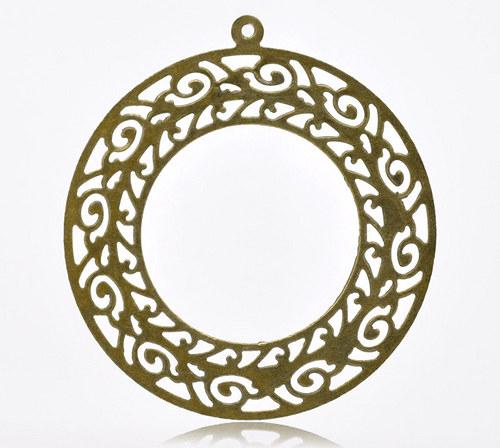 přívěsek kruhový/ bronz, 63x58mm, 1ks
