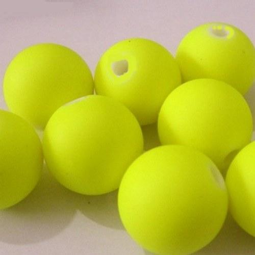 Plastové korálky neon žluté - 6 mm - 20 ks
