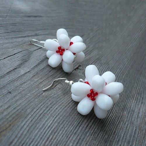 Bíločervené mnohokvěté náušnice