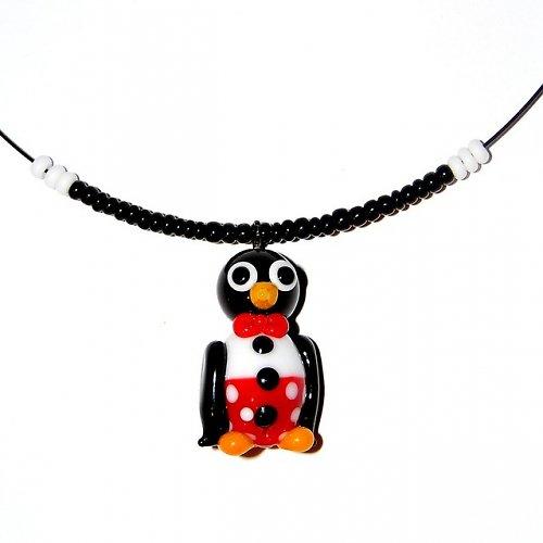 Tučňák v červených kalhotech - vinutá perle