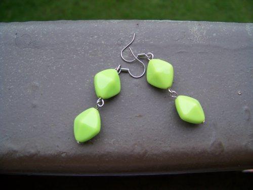 Náušnice tyrkysově zelené kosočtverce