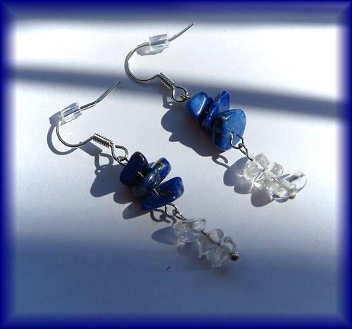 Naušnice lapis lazuli & křišťál