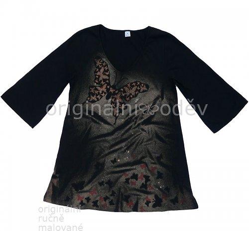 Malovaná tunika - noční motýl - černá