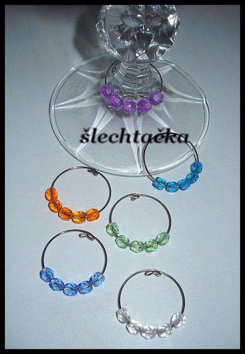 Jednoduché - Glass charm-ozdoby na sklenky /6ks