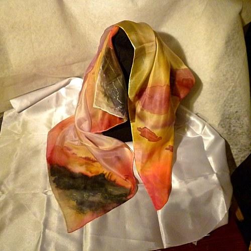 """Ručně malovaný hedvábný šátek  \""""Istanbul\"""""""