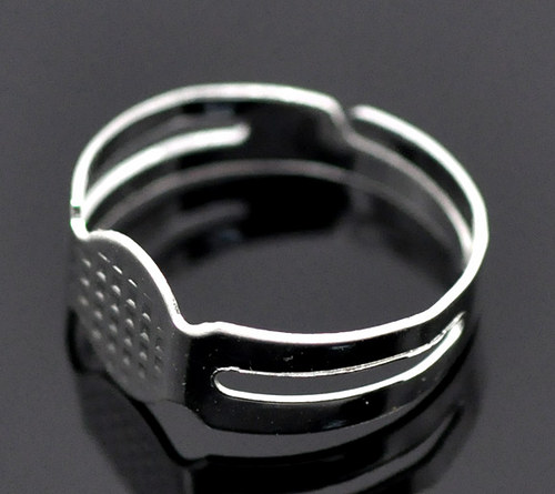 základ na prsten s ploškou/ stříbrný/ 2ks