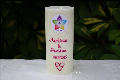 SVĚTLO pro novomanžele - svíčka s vlastním nápisem